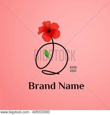 Beauty And Charming Simple Illustration Logo Design Initial O Combine With Shoe Flower.