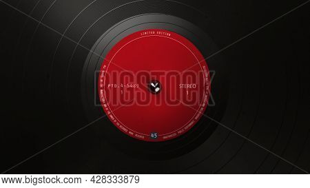 Black Vinyl Record On A Turntable. A Black Vinyl Background With A Red Sticker In The Center For You