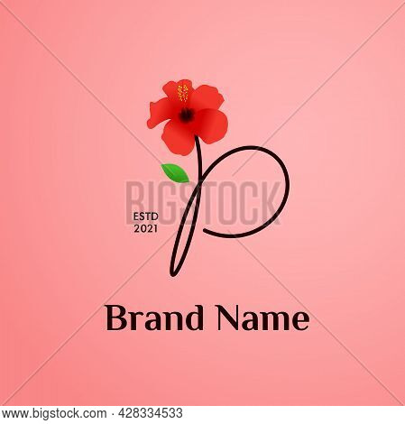 Beauty And Charming Simple Illustration Logo Design Initial P Combine With Shoe Flower.
