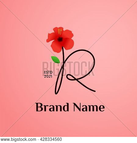 Beauty And Charming Simple Illustration Logo Design Initial R Combine With Shoe Flower.