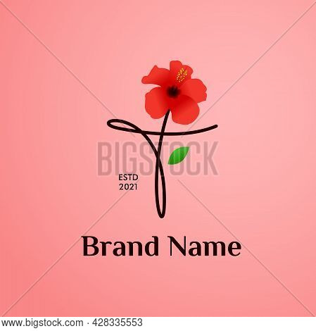 Beauty And Charming Simple Illustration Logo Design Initial T Combine With Shoe Flower.
