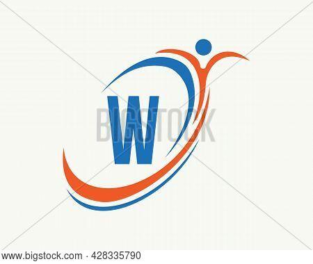 Fitness Logo Design. Bio, Health Icon. Medical Logo Design With W Letter Concept