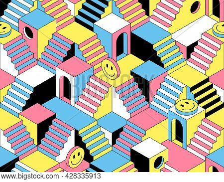 Surreal Seamless Pattern With Stairs, Steps, Labyririnth, Secrets And Emoji.