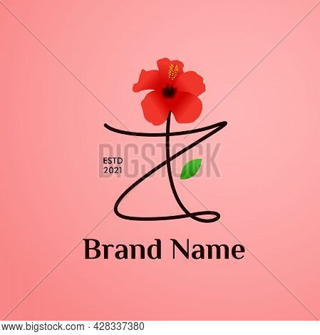 Beauty And Charming Simple Illustration Logo Design Initial Z Combine With Shoe Flower.
