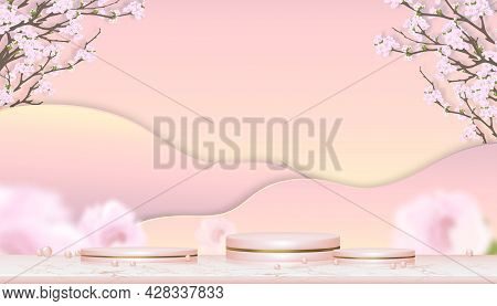 Studio Room With Podium And Pink Cherry Blossom On Pink And Yellow Pastel Background,3d Scenery Gold