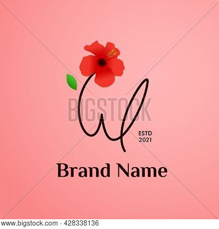 Beauty And Charming Simple Illustration Logo Design Initial W Combine With Shoe Flower.