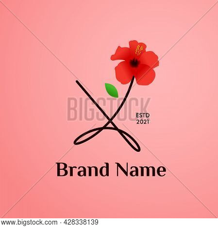 Beauty And Charming Simple Illustration Logo Design Initial X Combine With Shoe Flower.