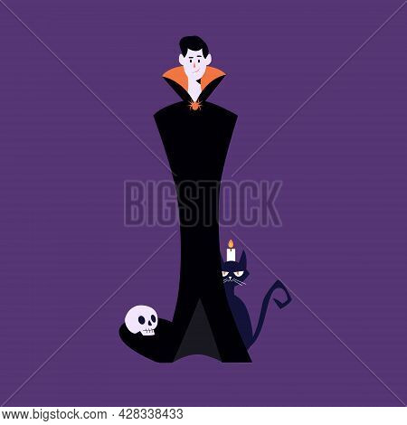 Halloween Characters, Dracula With Scary Cat, Candle And Skeleton Head. Happy Halloween. Modern Vect