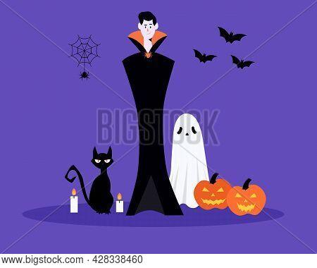 Halloween Characters And Elements. Dracula, Bat, Cat, Ghost,pumpkin, Spider.happy Halloween Concept.