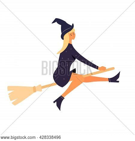 Cute Young Witch Character In Halloween Costume Flying On A Broomstick Isolated. Modern Vector Carto
