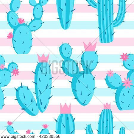 Pattern Of Azure Cactuses On A Striped Background, Vector Illustration. Seamless Background With Pri