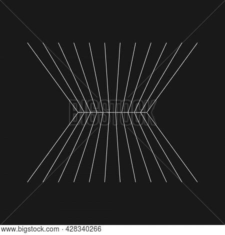 Retrofuturistic Perspective Converging At The Horizon. Cyber Retro Design Element. Grid In Cyberpunk