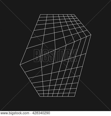 Retrofuturistic Perspective Distorted Grid Converging At The Horizon. Cyber Retro Design Element. Gr