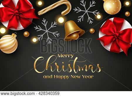 Merry Christmas Vector Background. Merry Christmas And Happy New Year Greeting Text In Space For Mes