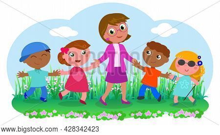 Cute Smiling Teacher With Different Kinds Of Children: African, Caucasian And Even A Blind Girl With