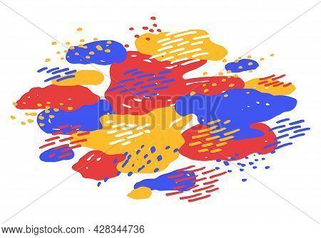 Hand Drawn Art Abstract Shapes Vector Composition, Template For Creative Advertising Or Abstraction