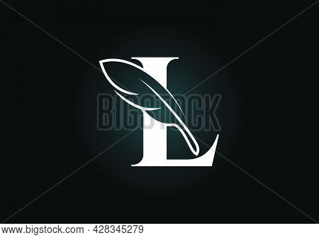 Initial L Monogram Alphabet With A Feather. Font Emblem. Law Firm Icon Sign Symbol. Modern Vector Lo