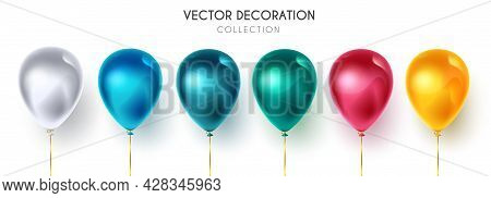 Birthday Balloons Vector Set. Colorful Floating Balloon Elements Isolated In White Background For Ce