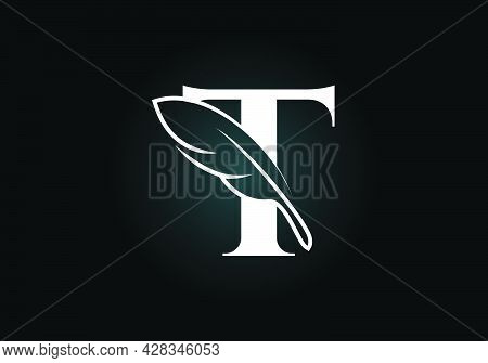 Initial T Monogram Alphabet With A Feather. Font Emblem. Law Firm Icon Sign Symbol. Modern Vector Lo