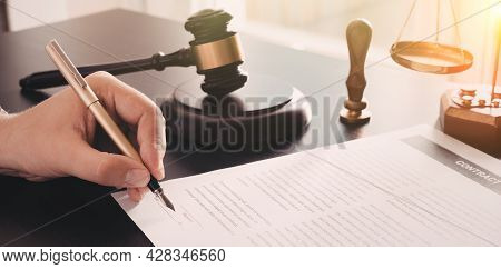 Lawyer, Accountant, Notary Public Working In The Office. Law And Justice Concept