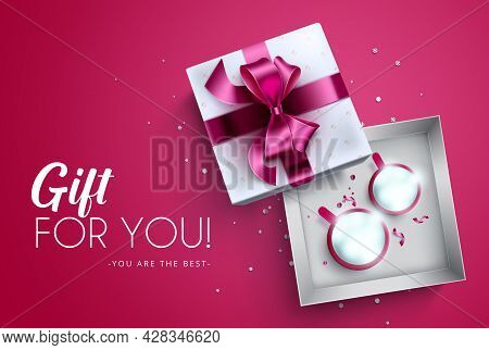 Gift Present Vector Design. Gift For You Greeting Text With Pink Ribbons, Mugs And Lights Elements F