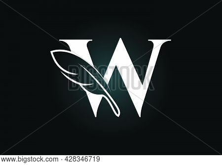 Initial W Monogram Alphabet With A Feather. Font Emblem. Law Firm Icon Sign Symbol. Modern Vector Lo