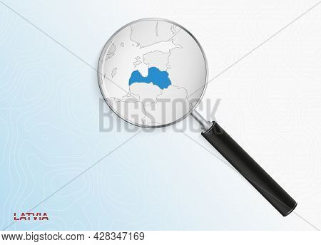 Magnifier With Map Of Latvia On Abstract Topographic Background. Vector Map.