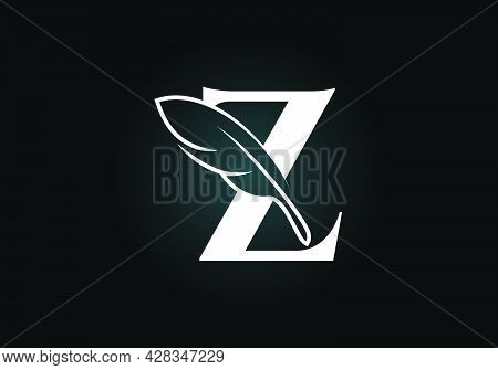Initial Z Monogram Alphabet With A Feather. Font Emblem. Law Firm Icon Sign Symbol. Modern Vector Lo