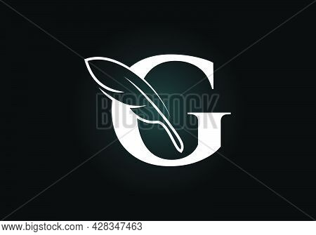 Initial G Monogram Alphabet With A Feather. Font Emblem. Law Firm Icon Sign Symbol. Modern Vector Lo