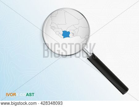 Magnifier With Map Of Ivory Coast On Abstract Topographic Background. Vector Map.