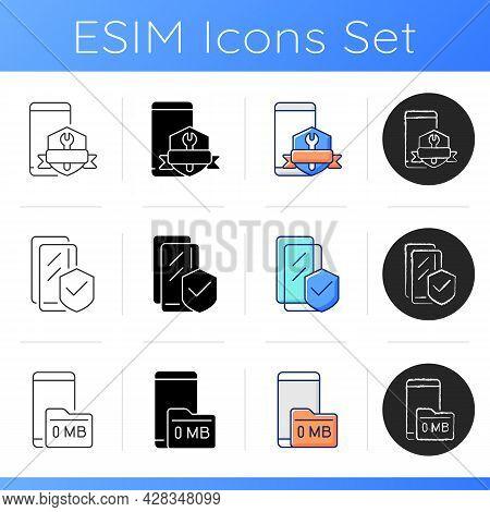 Phone Errors Icons Set. Broken Smartphone. Screen Glass Protector. Memory Card Problem. Zero Megabyt