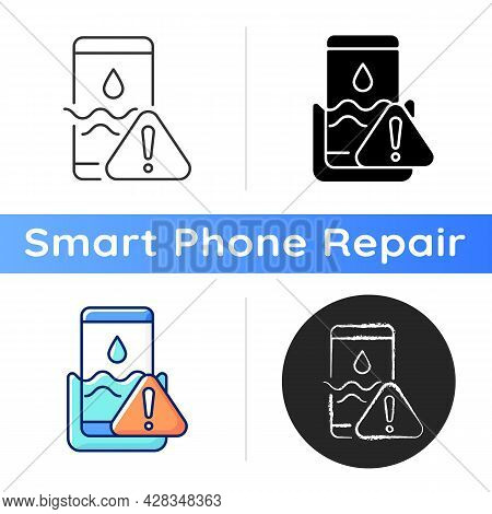Water Damage Icon. Fix Liquid Damaged Mobile Phone. Drop Smartphone Into Water. Solve Drown Device I