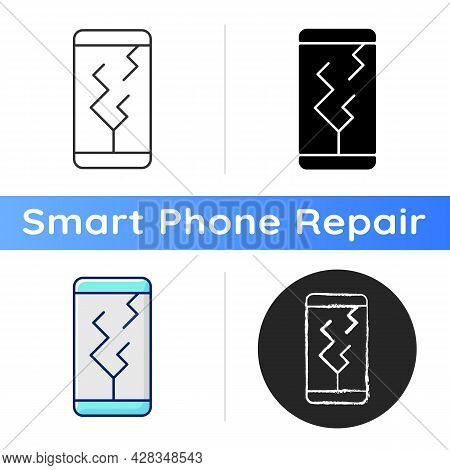 Screen Damage Icon. Cracks All Over Mobile Phone Display. Shattered And Broken Front Display. Damage