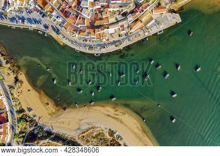 Aerial Cityscape Of Ferragudo By Arade River, Algarve, Portugal