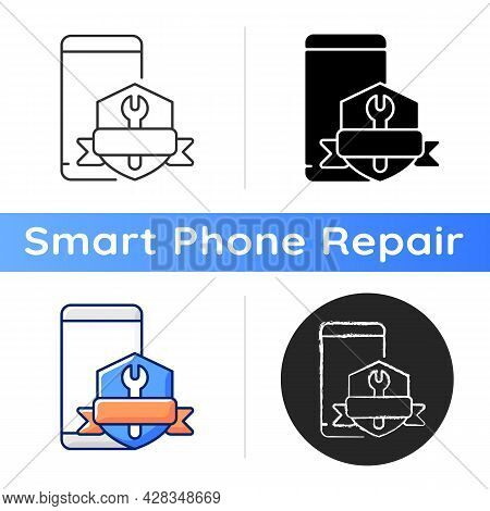Phone Repair Warranty Icon. Broken Phone Replacement And Renovate Insurance. Fix Cracked Cellphone D