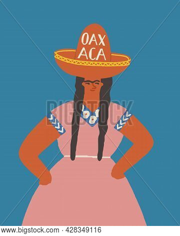 Oaxaca Mexica Card With A Mexican Women Wearing Traditional Dress And Sombrero Hat
