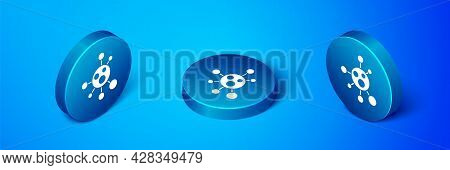 Isometric Molecule Icon Isolated On Blue Background. Structure Of Molecules In Chemistry, Science Te
