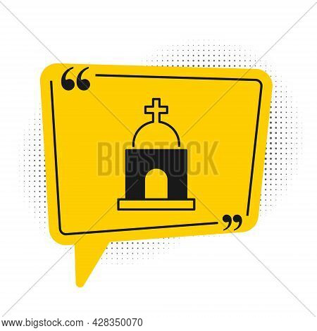 Black Old Crypt Icon Isolated On White Background. Cemetery Symbol. Ossuary Or Crypt For Burial Of D