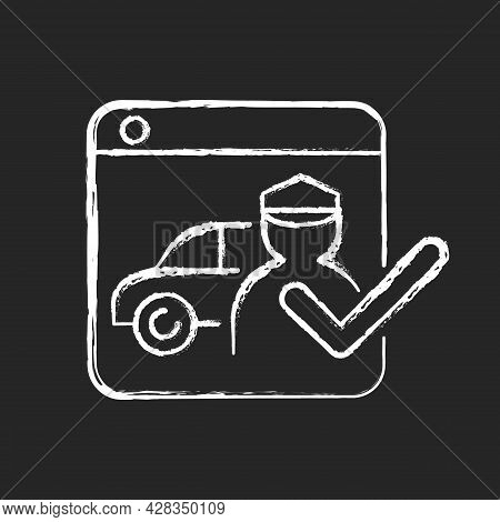 Ride-hailing Platforms Chalk White Icon On Dark Background. Ridesharing Company. Connecting Driver A