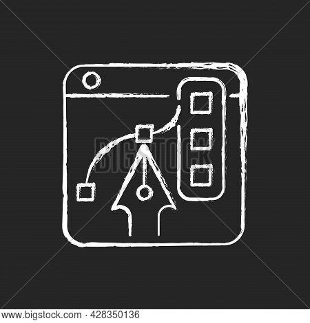 Graphic Design Platforms Chalk White Icon On Dark Background. Tool For Digital Artists. Illustration