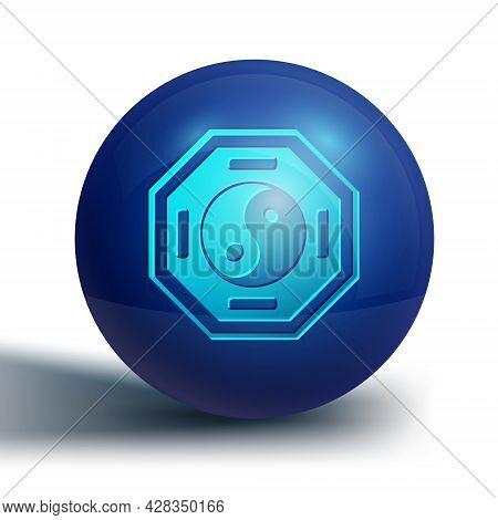 Blue Yin Yang Symbol Of Harmony And Balance Icon Isolated On White Background. Blue Circle Button. V
