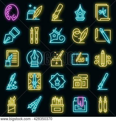 Calligraphy Tools Icons Set. Outline Set Of Calligraphy Tools Vector Icons Neon Color On Black