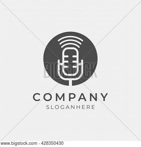 Vector Illustration Of Creative Podcast Icon Logo Perfect For Podcast Media Company
