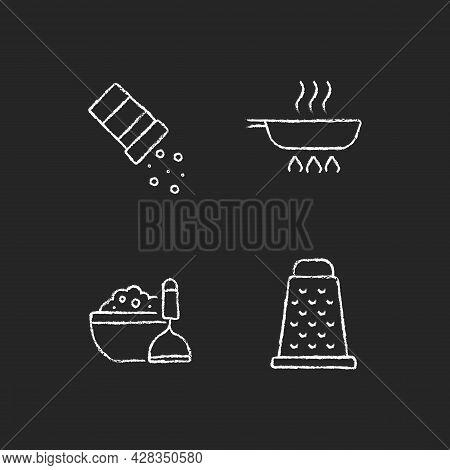 Home Cooking Chalk White Icons Set On Dark Background. Sprinkle Salt. Frying Pan. Mash Potato. Grate