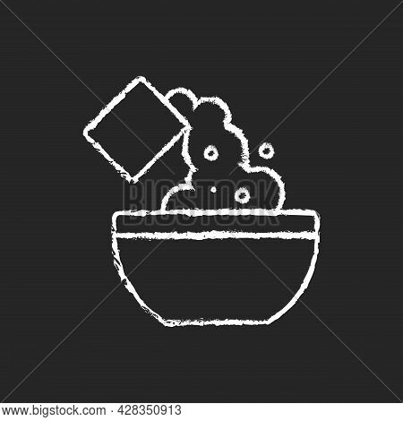 Add Cooking Ingredient Chalk White Icon On Dark Background. Pour Flour To Mixture. Baking Guide Step