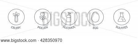 Allergen Line Icon Set. Celery, Pollen, Alcohol, Egg Sulfites Free Badges. Organic And Natural Food