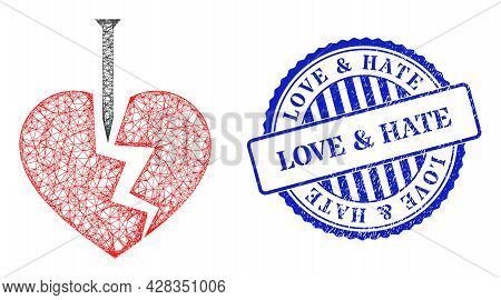 Vector Network Break Valentine Heart Carcass, And Love And Hate Blue Rosette Dirty Seal Print. Hatch