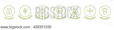Zero Waste Line Icons Set. Recycle, Reuse, Reduce Logo. Eco, Bio Pictogram. Ecology Concept. Save Th