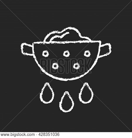 Drain Food Chalk White Icon On Dark Background. Rinsing Pasta From Water. Product In Colander With P