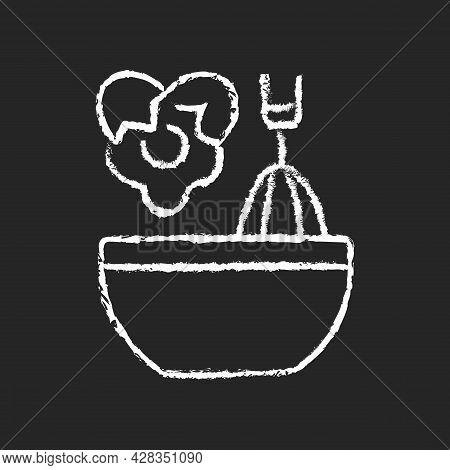 Scramble Cooking Ingredient Chalk White Icon On Dark Background. Beating Eggs In Pot. Stirring In Bo